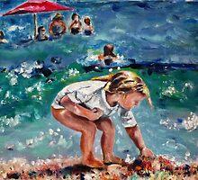 Beach Girl Gathering Shells by Marlene  Kurland