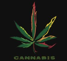 Crazy Marijuana Leaf and word Cannabis T-Shirt