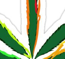 Crazy Marijuana Leaf and word Cannabis Sticker