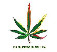 Crazy Marijuana Leaf and word Cannabis Photographic Print