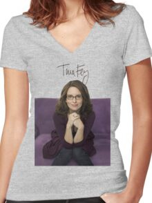 Tina Fey photo + Signature Women's Fitted V-Neck T-Shirt