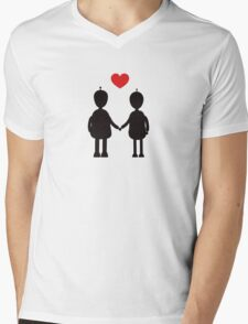Robots in Love Mens V-Neck T-Shirt