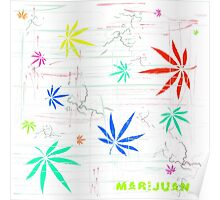 Colorful Marijuana Leaves and Scratches Poster