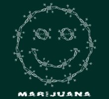 Smile. Barbed Wire and Marijuana Leaves by NataliSven