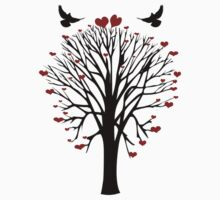 Love Birds Tree T Shirt by simpsonvisuals