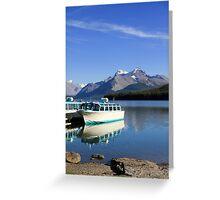 Boat and Maligne Lake Greeting Card