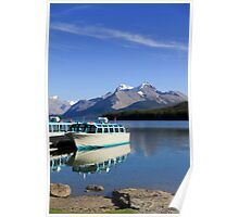 Boat and Maligne Lake Poster