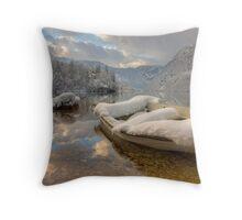 Snowy lake. Throw Pillow