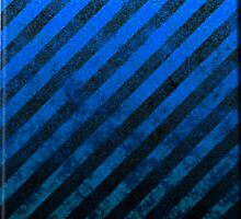 Royal Blue And Black Grunge Striped Design by CiaoBellaLtd