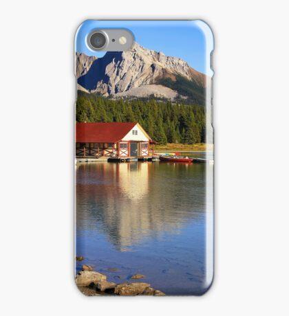 Historic Boathouse at Maligne Lake, Jasper NP iPhone Case/Skin