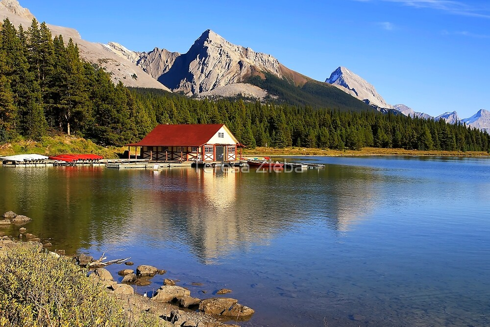 Historic Boathouse at Maligne Lake, Jasper NP by Teresa Zieba