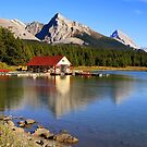 Historic Boathouse at Maligne Lake, Jasper NP by Teresa Zieba