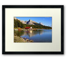 Historic Boathouse at Maligne Lake, Jasper NP Framed Print