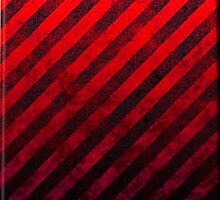 Ruby Red And Black Grunge Striped Design by CiaoBellaLtd