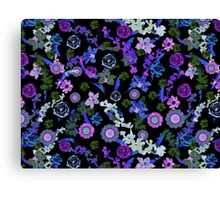 Blooming flowers purple and blue Canvas Print