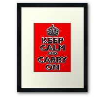 Keep Calm & Carry On, Be British! UK, Britain, Blighty, Chisel on Red Framed Print