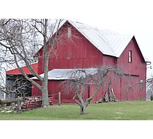 Red barn and bare trees Photographic Print