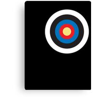 Bulls eye, Red, White, Blue, Roundel, Target, SMALL ON BLACK Canvas Print
