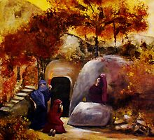 Mary, Mary And Salome At The Tomb Of Jesus by Ruth Palmer