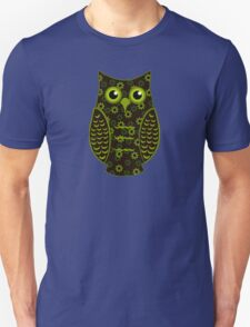 Yellow and Brown Floral Owl (on green) T-Shirt