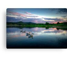 Sunset Ducks Canvas Print