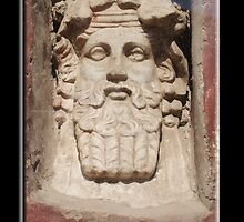 Greek God? Roman God, Janus? Stone Head  by TOM HILL - Designer