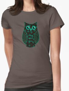 Turquoise and Brown Floral Owl (on mocha) Womens Fitted T-Shirt