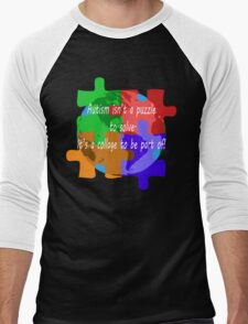 Autism is a collage (v2 - white text) Men's Baseball ¾ T-Shirt
