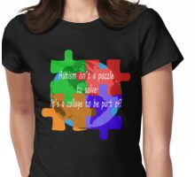 Autism is a collage (v2 - white text) Womens Fitted T-Shirt