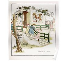 The Pied Piper of Hamlin Robert Browning art Kate Greenaway 0032 Children Bustling Poster