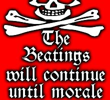 Pirate, Morale, Skull & Crossbones, Buccaneers, WHITE on RED by TOM HILL - Designer
