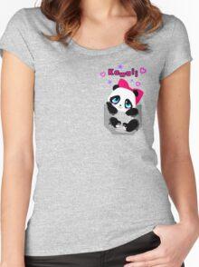 Kawaii Female Pocket Panda Women's Fitted Scoop T-Shirt