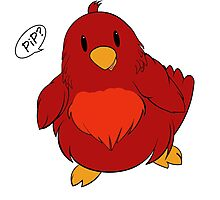 """""""PIP PIP"""" Spring birdsong in red! (v2) Photographic Print"""
