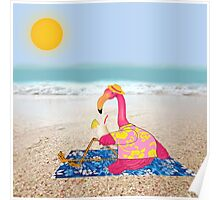 Lawn Flamingo on Vacation Poster