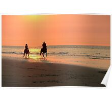 Horse ride at sunset Poster