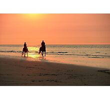 Horse ride at sunset Photographic Print