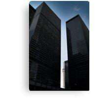 CN tower between skyscrapers, Toronto Canvas Print