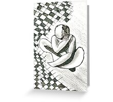 Tiled nude... abstract etching Greeting Card