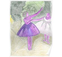 After Degas- coloured etching Poster