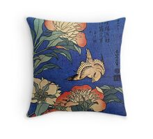 'Flowers' by Katsushika Hokusai (Reproduction) Throw Pillow