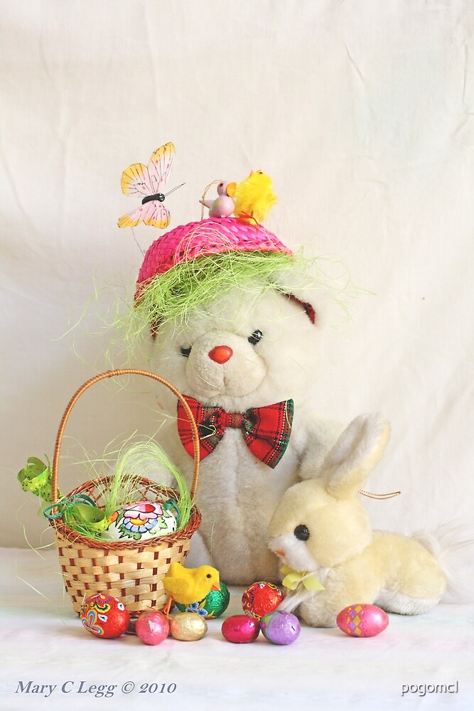 Fatso Bear gets an Easter Basket from the Easter Bunny by pogomcl