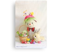 Fatso Bear gets an Easter Basket from the Easter Bunny Metal Print