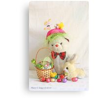 Fatso Bear gets an Easter Basket from the Easter Bunny Canvas Print