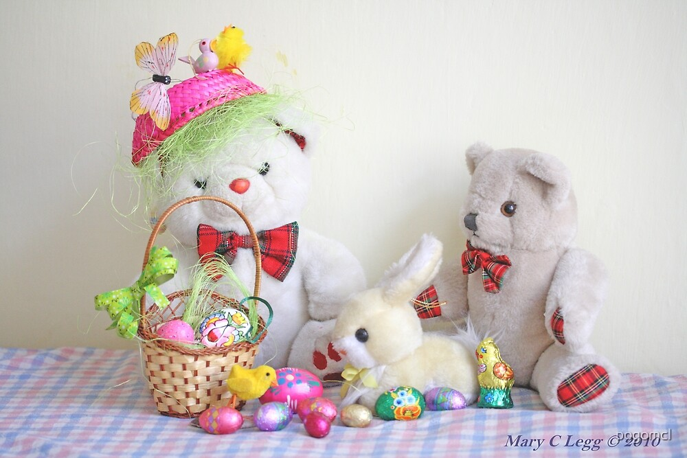 Fatso Bear and Erasmus Bear with the Easter  Bunny by pogomcl