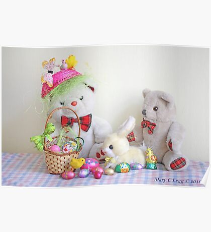 Fatso Bear and Erasmus Bear with the Easter  Bunny Poster