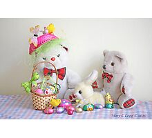 Fatso Bear and Erasmus Bear with the Easter  Bunny Photographic Print