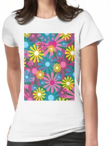 Funky Flowers Womens Fitted T-Shirt