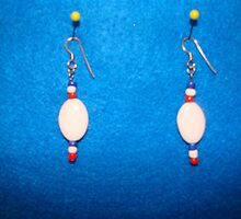 Red , White and Blue earringz  (unisex ) by offthewallz