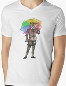 Rainbow Cat Mens V-Neck T-Shirt