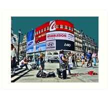 Busking at Piccadilly Circus by Tim Constable Art Print